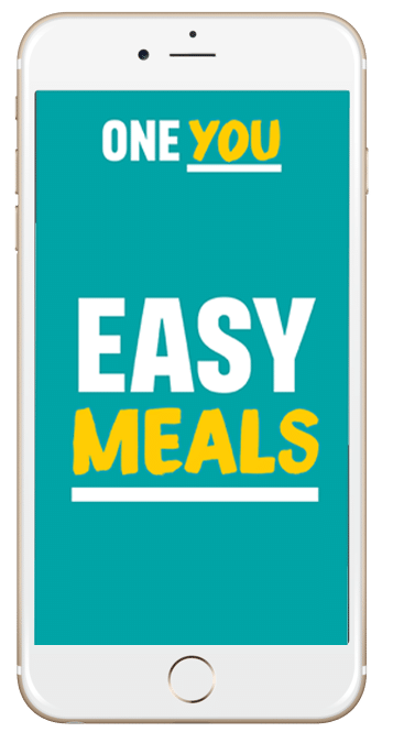 phone showing easy meals app