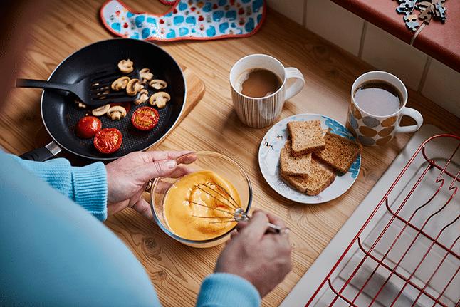 making breakfast