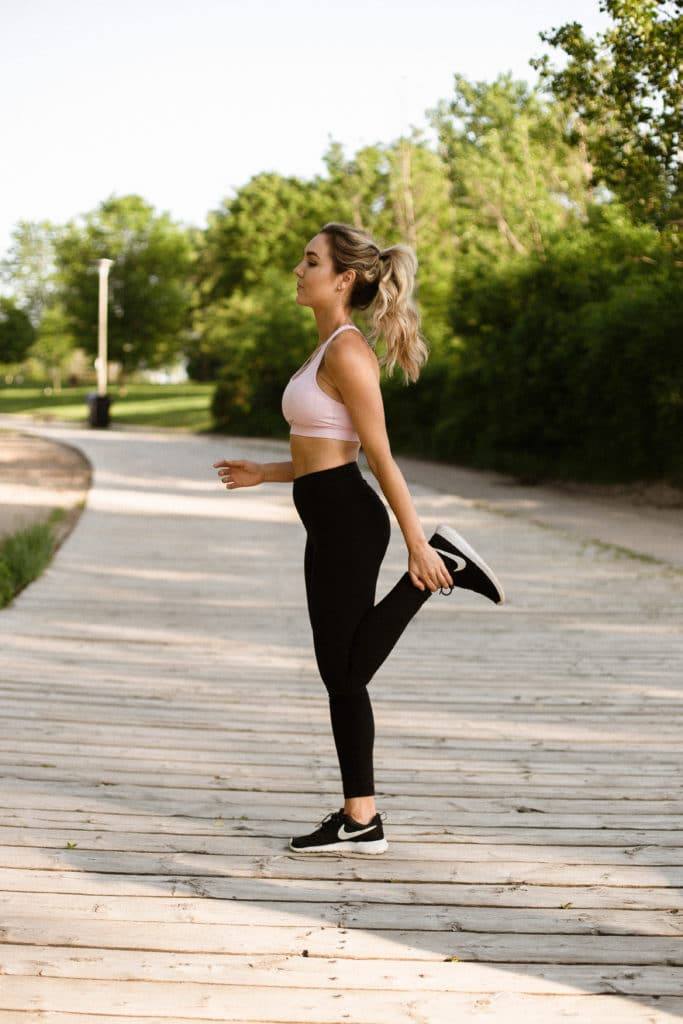 lady stretching outside