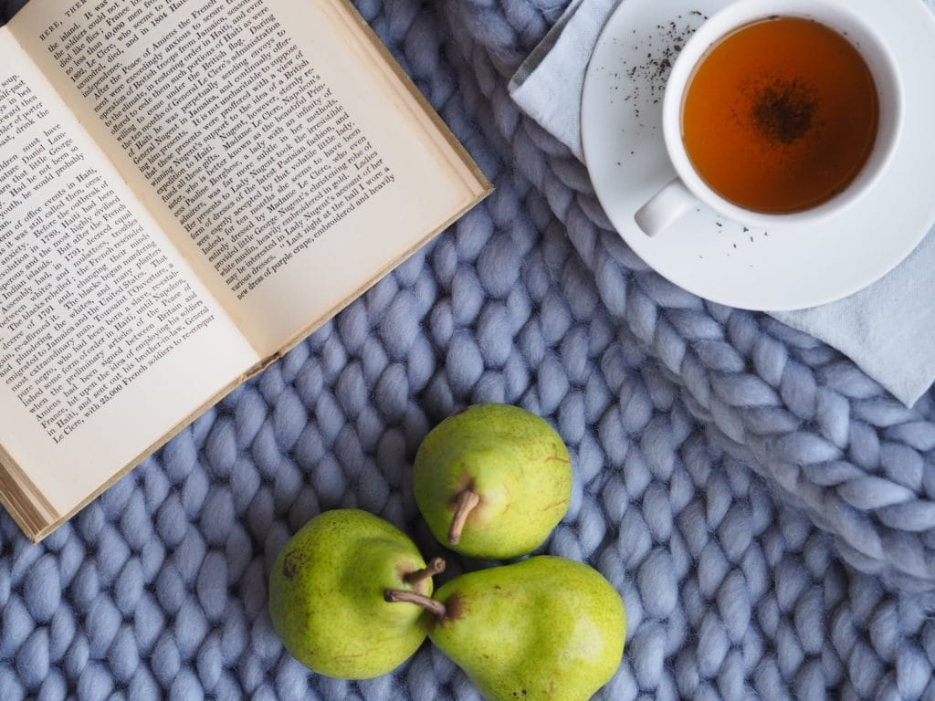 book and fruit